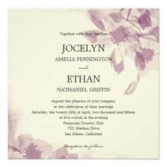 Watercolor Floral Wedding Invitation Invitations  | Visit the Zazzle Site for More: http://www.zazzle.com/?rf=238228028496470081