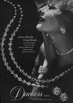 Timelessly beautiful aurora borealis crystal beads. #vintage #1950s #jewelry #ad #necklace