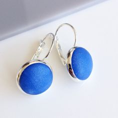 Blue lever back earrings, blue and silver lever back earrings, minimalist earrings, blue drop earrings, minimalist blue drop earrings