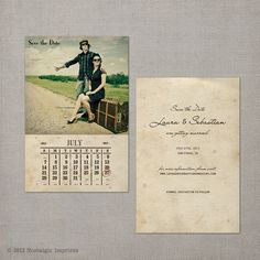 """Vintage Save the Date Card - the """"Laura"""". $38.75, via Etsy."""