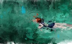 Lush Paintings of Solitary Swimmers by Pedro Covo