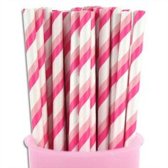 Pink & Light Pink Double Stripe Paper Straws