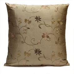 Smoky Tan Silk Decorative Throw Pillow Cover with Floral Pattern embroidery,Toss Pillow,Accent Pillow,Cushion Cover,Pillow Sham,Home Decor.Visit https://www.etsy.com/shop/SHPillows?ref=l2-shopheader-name to see the rest of our collection.  Thank you!!