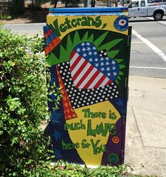 We love veterans message in this micro mural on a utility box in Auburn, California.