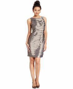 London Times Dress, Sleeveless Tiered Shimmer Sheath - Dresses - Women - Macy's  $76.00
