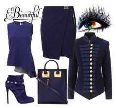 """""""All blue"""" by chateaubeau ❤ liked on Polyvore featuring GE, Pinky Laing, Versace, Sophie Hulme, Le Silla and Reed Krakoff"""