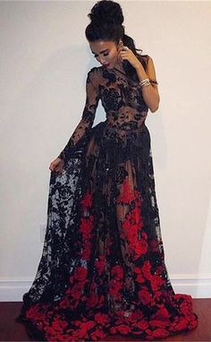 Black Prom Dresses,Long Sleeve Prom Dresses,One Shoulder Prom Gowns,Appliques Prom Dresses,Red Prom Dresses,Sexy Prom Dress,Prom Party Dresses,Long Evening Gowns, 2017 Prom Dresses