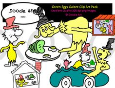 """This """"Green Eggs Galore"""" Clipart collection includes all the images shown in the sample picture and more. This clipart pack is a parody of the book Green Eggs and Ham. This group includes 20 different clips:* Black line masters of all clips* Sam * Characters* Mouse* Fox* Car * Boat* So CuteGraphics come in PNG format 300 dpi format.My graphics are suitable for printing and digital projects and can be easily re-sized smaller to suit other needs, graphics measure different sizes and can be…"""