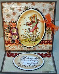 Annes lille hobbykrok: Stampavie, Sarah Kay, Easel card, Autumn, distress Ink