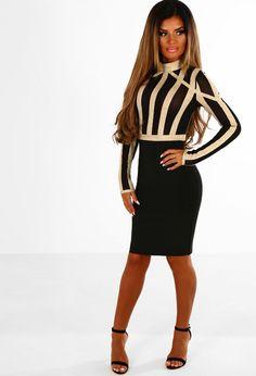 All I Crave Black and Gold Stripe Bandage Long Sleeve Mini Dress