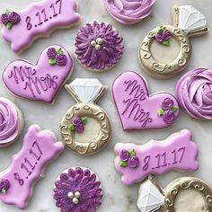 Bridal Shower Games, Bridal Shower Decorations, Cake Decorations, Purple Cookies, Fancy Cookies, Cake Cookies, Cupcakes, Wedding Shower Cookies, Biscuits