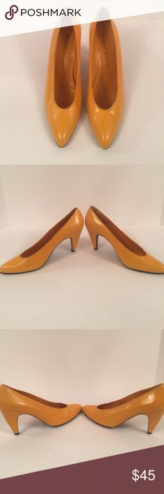 Charles Jourdan Classic Pumps EUC size 9 medium all leather in a bright orange yellow. Only wear is on the leather soles. No box Charles Jourdan Shoes Heels