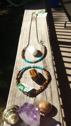 "Jun E Caniel ""Free To Speak Life "" Freedom set features a necklace and bracelet fashioned from repurposed jewelry, tiger eye & turquoise.  www.jcaniel.com  #junecaniel #om #handmadejewelry #beautiful #etsy #craft #artist #karma #different #handmade"