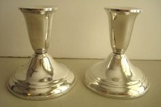 """2 DUCHIN Sterling Silver Weighted Candle Candlestick Holders 3 3/4"""" High 3 1/2"""" #DUCHIN"""