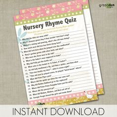 INSTANT DOWNLOAD nursery rhyme quiz, baby shower game, printable, game card, pink, yellow, green, baby girl, mother goose