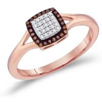 Chocolate Brown Diamond Ring Square Fashion Band 10k Rose Gold (0.14 ct.tw).    http://www.jeweltie.com/chocolate-brown-diamond-ring-square-fashion-band-10k-rose-gold-0-14-ct-tw.html  $680.00