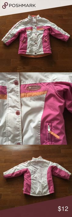 💗Girls Rothschild Coat💗 Girls Rothschild Coat-Great Condition!! White,pink, and orange-Full zip & snap close-2 front zip pockets-some wear on cuffs(see pics). Unable to read size tag but fits like a 7. Bundle & save!! Rothschild Jackets & Coats