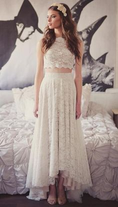 Crop top lace wedding dress