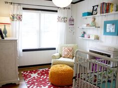 colorful nursery for baby girl in a small room!