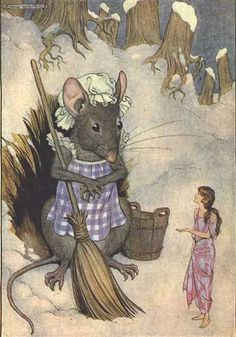 Illustration by Milo Winter - Thumbelina asks the field mouse for a piece of barleycorn. (Illustration from Hans Andersen's Fairy Tales, by Hans Christian Anderson; Milo Winter, illustrator. Valdemar Paulsen, translator. Chicago: Rand McNally & Company, [c1916].)
