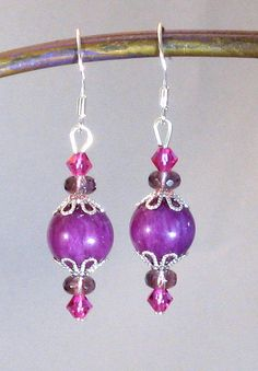 Fuchsia Jade Crystal & Silver Drop Earrings by RoseGirlCreations, $14.50