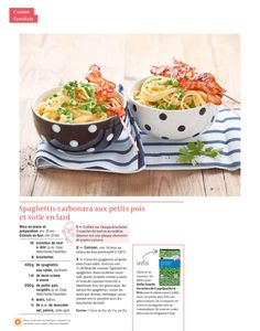 Shortcut - Spaghettis carbonara aux petits pois et voile en lard Spaghetti, Lard, Cooking, Snap Peas, Kitchens, Veil, Carne Asada, Kitchen, Noodle