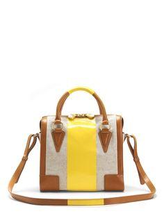 pour la victoire tan and yellow satchel...yes please