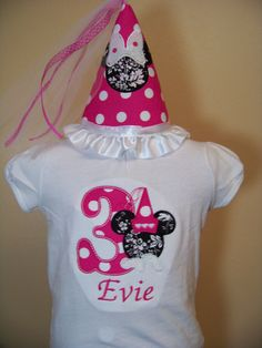 Personalized Birthday Princess Minnie Shirt and Hat Princess Birthday Pink Minnie Mouse Party