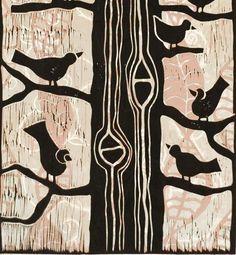 linocut print, Birds in a Tree, contemporary art in pastel orange and cloudy grey via Etsy