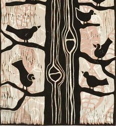 Mariann Johansen-Ellis. Birds in a Tree, linocut