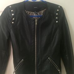 Black & Silver leather jacket Great jacket to throw on any outfit. It fits great and is in great condition. Forever 21 Jackets & Coats