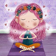 Little Girl Illustrations, Yoga Cartoon, Yoga Art, Yoga For Kids, Children's Book Illustration, Whimsical Art, Cute Drawings, Cute Art, Fantasy Art