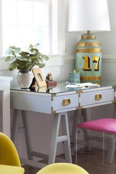 campaign style desk- could DIY? Sawhorses + base with drawers + campaign hardware + glass top