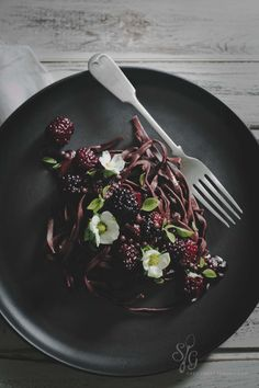 Cocoa Linguine with Berry Balsamic Sauce