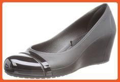 crocs Women's Cap Toe Wedge Sandal,Black/Black,9 M US - Sandals for women (*Amazon Partner-Link)