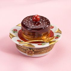Limoges chocolate cherry cake trinket box
