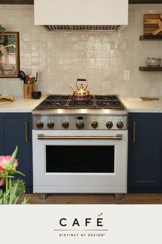 """According to Erin Conway from Kismet House, """"Beyond being stunning, these Café appliances are extremely well made and function beautifully. I cannot get over the range especially. Six burners is a game changer. Updated Kitchen, New Kitchen, Kitchen Dining, Kitchen Decor, Kitchen Ideas, Apartment Kitchen, Kitchen Interior, Beautiful Kitchens, Cool Kitchens"""