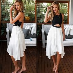Women Sexy Hollow Out Backless Sleeveless Chiffon Patchwork Pleated Dress