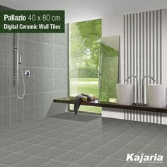 Nature always wears the colours of spirit. Bask in its glory with Pallazio 40x80 cm Digital Ceramic Wall Tiles. #KajariaCeramics