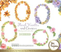 Watercolor Floral Wreaths Frames Wedding Elements, Clipart, PNG, Vintage Flowers, Rustic arrangement, bouquet, for invitations