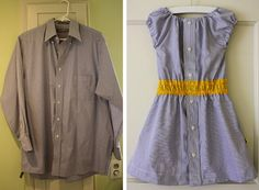 A man's used dress shirt becomes a little girl's summer dress with the help of a sewing machine and some elastic thread. Description from babble.com. I searched for this on bing.com/images