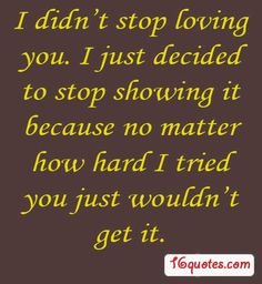 stop loving