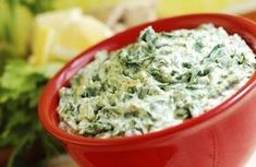 Cheese Spinach and Artichoke Dip - my hubby will love this! The dip itself is low-carb.it's what you choose to dip in it that is the killer! Healthy Spinach Artichoke Dip, Vegan Spinach Dip, Creamy Spinach, Chopped Spinach, Feta Dip, Baby Spinach, Homemade Spinach Dip, Kale Dip, Vegetarian Recipes
