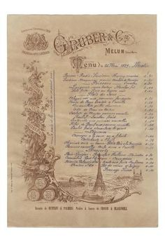 Brasserie Francaise Gruber & Cie Paris 1889 The Effective Pictures We Offer You About wood crates de Vintage Menu, French Vintage, Wooden Shipping Crates, Art Restaurant, Alone Photography, Menu Printing, Paul Gauguin, Wood Crates, World's Fair