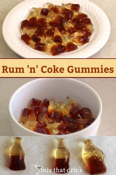 Rum 'n' Coke Gummies are a delicious and fun twist on vodka gummy bears. These cola flavored gummies soaked in rum actually taste a Rum 'n' Coke. They make a great treat for parties, or hostess gifts. Party Drinks, Cocktail Drinks, Fun Drinks, Beverages, Alcoholic Drinks, Vodka Gummy Bears, Drunk Gummy Bears, Helloween Party, Alcohol Drink Recipes