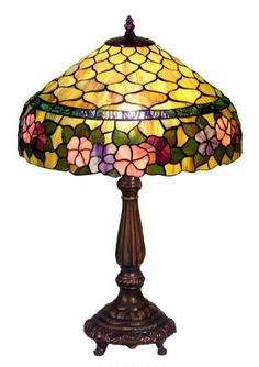 Warehouse of Tiffany Style Stained Glass Peony Table Lamp Created with individual pieces of hand-cut stained glass, each wrapped in fine copper foil.