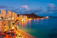 Waikiki Beach at dusk ... the stretch of beach at the bottom of this image is across the street from the Holiday Inn Waikiki Beachcomber Resort.