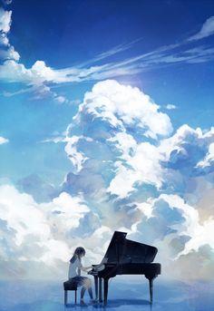 「ピアノと空」/「Spencer_sais」のイラスト [pixiv]