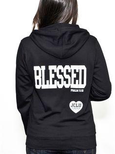 BLESSED ZIP HOODIE-BLACK. Size M