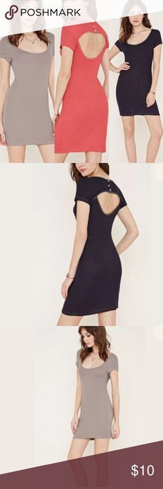 Stretch Knit Open Back Dress 95% rayon, 5% spandex  Hand wash cold  Subtle metallic specks in fabric  3 colors available:  gray, red and navy Forever 21 Dresses